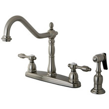 Kingston Brass Two Handle Widespread Kitchen Faucet & Brass Side Spray - Satin Nickel KB1758TALBS