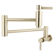 Kingston Brass Wall Mount Pot Filler Kitchen Faucet - Satin Nickel