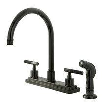 Kingston Brass Two Lever Handle Kitchen Faucet & Side Spray - Black Nickel NS8790DKLSP