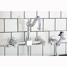 Kingston Brass Two Handle Widespread Wall Mount Kitchen Faucet & Brass Side Spray - Polished Chrome