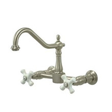 Kingston Brass Two Handle Widespread Wall Mount Kitchen Faucet - Satin Nickel KS1248PX