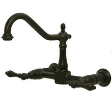 Kingston Brass Two Handle Widespread Wall Mount Kitchen Faucet - Oil Rubbed Bronze
