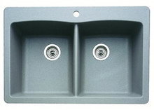 "Blanco Diamond 440219 Drop In or Undermount 33"" x 22"" Double Bowl Single Hole Silgranit Kitchen Sink - Metallic Gray"