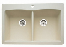 "Blanco Diamond 440222 Drop In or Undermount 33"" x 22"" Double Bowl Single Hole Silgranit Kitchen Sink - Biscuit"