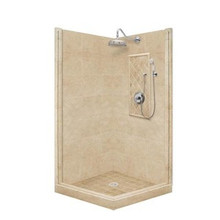 "American Bath P21-3706P 54""L X 32""W Premium Front and Left Threshold Shower Package & Accessories Includes and Faucet Drain Position Center Faucet Position Right Stall Stone Pan Wall Glass Unit P213706P P21 3706P 54"" L X 32"" W"