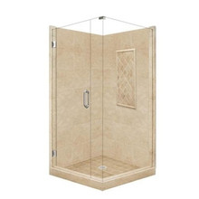 "American Bath P21-3619P 54""L X 36""W Supreme Front and Left Threshold Shower Package & Accessories - Includes Pan, Walls, and Glass"