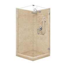 """American Bath P21-3518P 48""""L X 36""""W Grand Front and Left Threshold Stone Shower Unit & Accessories - Includes Pan, Walls, Glass, and Faucet"""