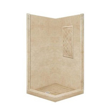 "American Bath P21-3326P 54""L X 54""W Basic Front and Right Threshold Shower Package  & Accessories - Includes Pan and Walls"