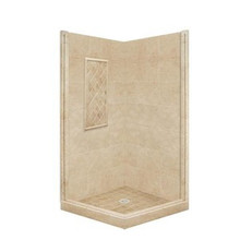 "American Bath P21-3325P 60""L X 48""W Basic Front and Right Threshold Shower Package  & Accessories - Includes Pan and Walls"