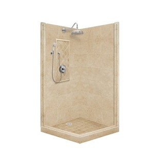 "American Bath P21-3217P 54""L X 36""W Premium Front and Right Threshold Shower Package & Accessories Includes and Faucet Drain Position Center Faucet Position Left Stall Stone Pan Wall Glass Unit P213217P P21 3217P 54"" L X 36"" W"