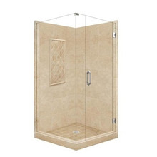 "American Bath P21-3134P 48""L X 48""W Supreme Front and Right Threshold Shower Package & Accessories - Includes Pan, Walls, and Glass"