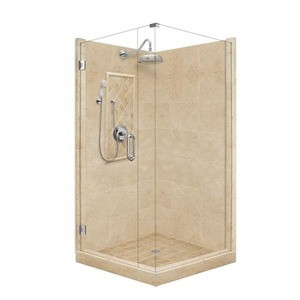 "American Bath P21-3032P 54""L X 42""W Grand Front and Right Threshold Stone Shower Unit & Accessories Includes and Faucet Drain Position Center Faucet Position Left Stall Stone Pan Wall Glass Package P213032P P21 3032P 54"" L X 42"" W"