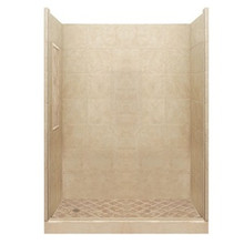 "American Bath P21-2833P 42""L X 42""W Basic Single Threshold Shower Package & Accessories - Includes Pan and Walls"