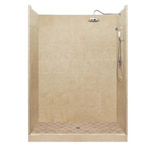 "American Bath P21-2710P 54""L X 32""W Premium Single Threshold Shower Package & Accessories - Includes Pan, Wall, and Faucet"