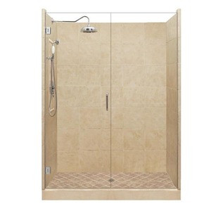 "American Bath P21-2522P 60""L X 34""W Grand Single Threshold Stone Shower Unit & Accessories Includes and Faucet Drain Position Right Neo Cut Right Faucet Position Right Stall Stone Pan Wall Glass Package P212522P P21 2522P 60"" L X 34"" W"