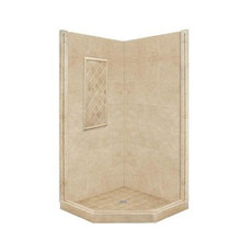 """American Bath P21-2318P 36""""L X 36""""W Basic Neo Angle Shower Package & Accessories - Includes Pan and Walls"""