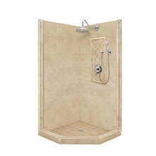 "American Bath P21-2234P 60""L X 48""W Premium Neo Angle Shower Package & Accessories - Includes Pan, Walls, and Faucet"