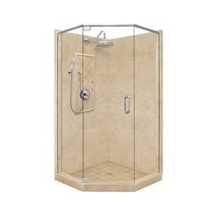 "American Bath P21-2008P 54""L X 32""W Grand Neo Angle Shower Unit & Accessories Includes and Faucet Drain Position Center Neo Cut Right Faucet Position Left Stall Stone Pan Wall Glass Package P212008P P21 2008P 54"" L X 32"" W"