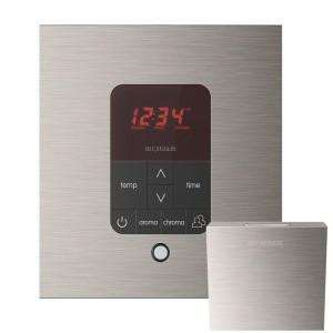 Mr. Steam MSITPLUSSQ-BN iTempo Plus Square Control with AromaSteam Steam Head for Steam Bath Generator  - Brushed Nickel
