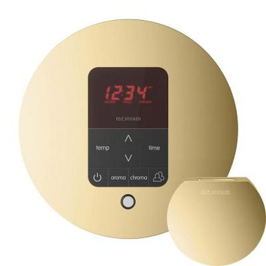 Mr. Steam MSITPLUSRD-PB iTempo Plus Round Control with AromaSteam Steam Head for Steam Bath Generator  - Polished Brass