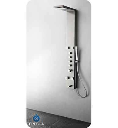 Fresca FSP8006BS Stainless Steel Thermostatic Shower Massage Panel with Handshower , Body Jets & Tub Spout - Brushed Silver