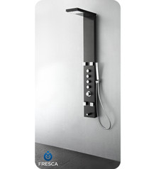 Fresca FSP8006BG Stainless Steel Thermostatic Shower Massage Panel with Handshower , Body Jets & Tub Spout - Brushed Grey