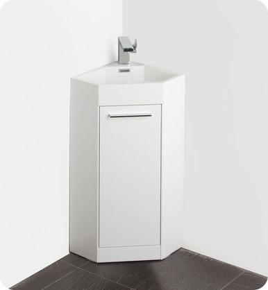 "Fresca Coda FVN5082WH 14"" White Modern Corner Bathroom Vanity Cabinet & Sink & Faucet"