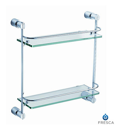 "Fresca 15"" FAC0146 Two Tier Vanity Glass Shelf with Railing - Chrome"
