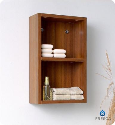 """Fresca FST8092TK 12'' Bathroom Linen Side Cabinet 19.63"""" H X 11.88"""" W X 5.88"""" L W/ 2 Open Storage Areas  - Teak"""