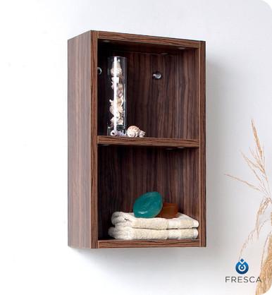 "Fresca Walnut FST8092GW 12'' Bathroom Linen Side Cabinet 19.63"" H X 11.88"" W X 5.88"" L W/ 2 Open Storage Areas"