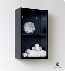 "Fresca FST8092BW 12'' Bathroom Linen Side Cabinet 19.63"" H X 11.88"" W X 5.88"" L W/ 2 Open Storage Areas  - Black"