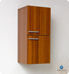 "Fresca FST8091TK 12'' Bathroom Linen Side Cabinet 27.5"" H X 12.63"" W X 12"" L W/ 2 Storage Areas  - Teak"
