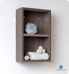 """Fresca Gray Oak FST8092GO 12'' Bathroom Linen Side Cabinet 19.63"""" H X 11.88"""" W X 5.88"""" L W/ 2 Open Storage Areas"""