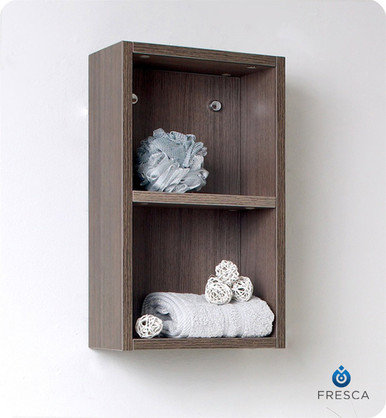 "Fresca Gray Oak FST8092GO 12'' Bathroom Linen Side Cabinet 19.63"" H X 11.88"" W X 5.88"" L W/ 2 Open Storage Areas"