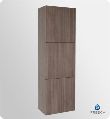 "Fresca FST8090GO 18'' Bathroom Linen Cabinet 59"" H X 17.75"" W X 12"" L W/ 3 Large Storage Areas  - Gray Oak"