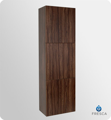 "Fresca FST8090GW 18'' Bathroom Linen Cabinet 59"" H X 17.75"" W X 12"" L W/ 3 Large Storage Areas  - Walnut"