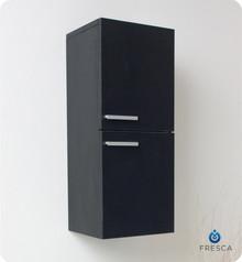 "Fresca FST8091BW 12'' Bathroom Linen Side Cabinet 27.5"" H X 12.63"" W X 12"" L W/ 2 Storage Areas  - Black"