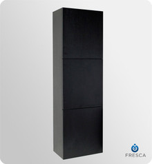 "Fresca FST8090BW 18'' Bathroom Linen Cabinet 59"" H X 17.75"" W X 12"" L W/ 3 Large Storage Areas  - Black"