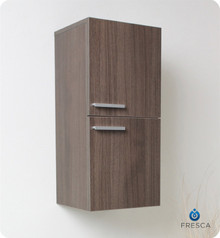 "Fresca FST8091GO 12'' Bathroom Linen Side Cabinet 27.5"" H X 12.63"" W X 12"" L W/ 2 Storage Areas  - Gray Oak"