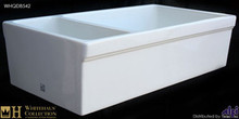 "Whitehaus WHQDB542 White 36"" Quatro Alcove Double Bowl Reversible Fireclay Farmhouse Kitchen Sink  - White"