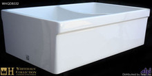"Whitehaus WHQDB532 White 33"" Double Bowl Reversible Fireclay Farmhouse Kitchen Sink With Lip  - White"