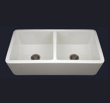 Whitehaus WH3719 37'' Duet Double Bowl Fireclay Farmhouse Kitchen Sink - White
