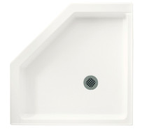 "Swanstone SS-38NEO Neo Angle 38"" x 38"" Shower Floor Base - White , Bisque or Bone"