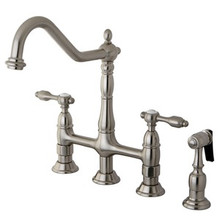 Kingston Brass Two Handle Bridge Kitchen Faucet & Brass Side Spray - Satin Nickel