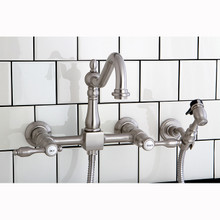 Kingston Brass Two Handle Widespread Kitchen Faucet & Brass Side Spray - Satin Nickel KS1248TALBS