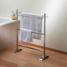 Valsan VDS 53519NI Freestanding Small Double Towel Holder-Polished Nickel