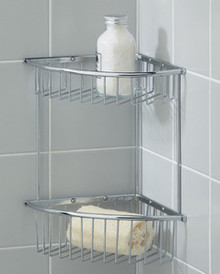 Valsan Essentials 53424NI Large Corner Double Wire Soap Basket - Wall Mounted - Polished Nickel