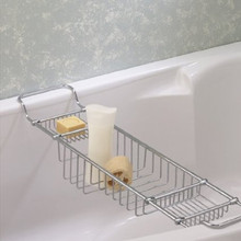 Valsan Essentials 53412ES Large Adjustable Bathtub Caddy - Rack - Satin Nickel