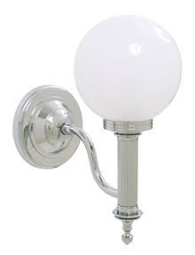 Valsan Ibis 30954ES Bathroom Wall Light W/Glass Ball Shade -Satin Nickel