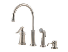 Price Pfister GT26-4YPK One Handle Kitchen Faucet w/Sidespray & Soap Dispenser - Satin Nickel
